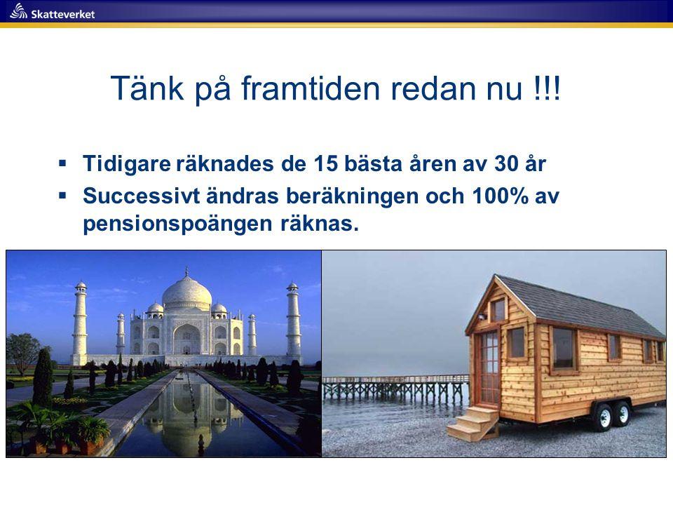 Tänk på framtiden redan nu !!!  Tidigare räknades de 15 bästa åren av 30 år  Successivt ändras beräkningen och 100% av pensionspoängen räknas.