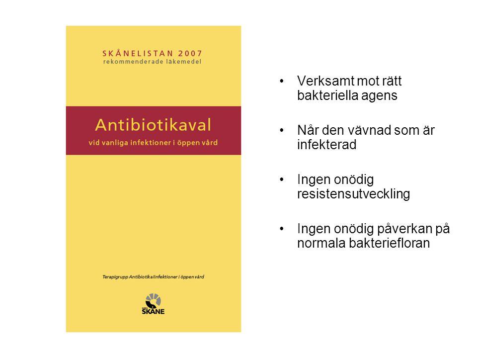 •Verksamt mot rätt bakteriella agens •Når den vävnad som är infekterad •Ingen onödig resistensutveckling •Ingen onödig påverkan på normala bakterieflo