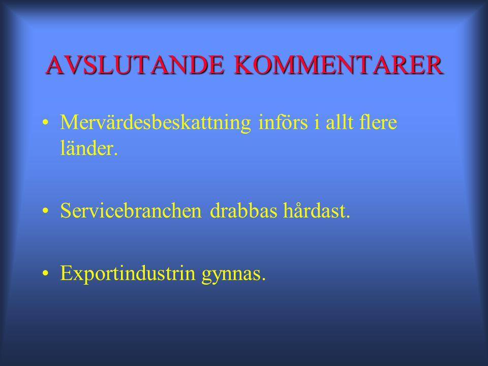 AVSLUTANDE KOMMENTARER •Mervärdesbeskattning införs i allt flere länder.