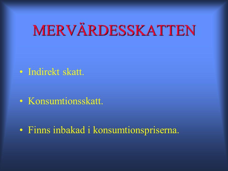 MERVÄRDESSKATTEN •Indirekt skatt. •Konsumtionsskatt. •Finns inbakad i konsumtionspriserna.