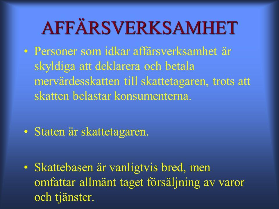 KRITERIER FÖR AFFÄRSVERKSAMHET 1.Verksamhet 2. Varaktighet 3.