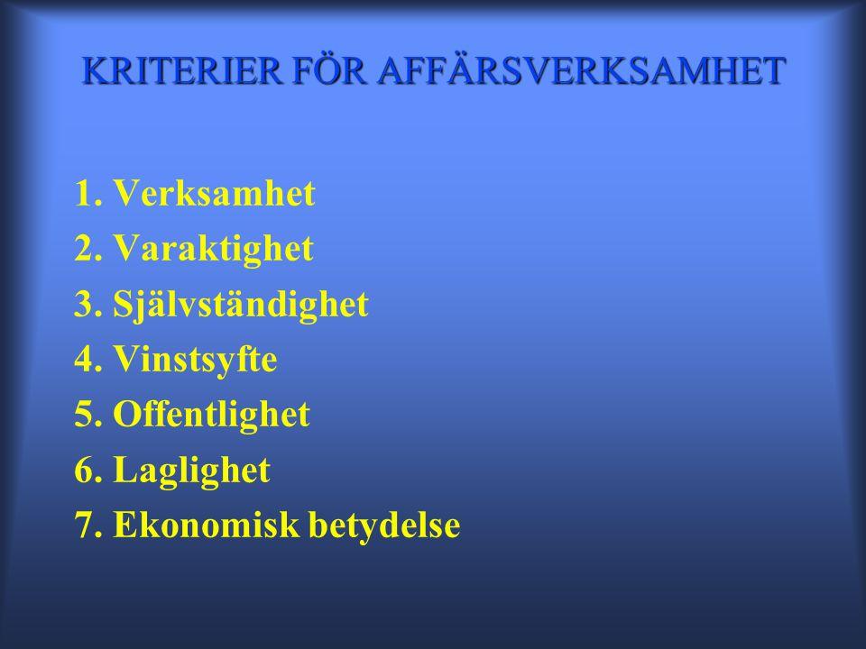 KRITERIER FÖR AFFÄRSVERKSAMHET 1. Verksamhet 2. Varaktighet 3.