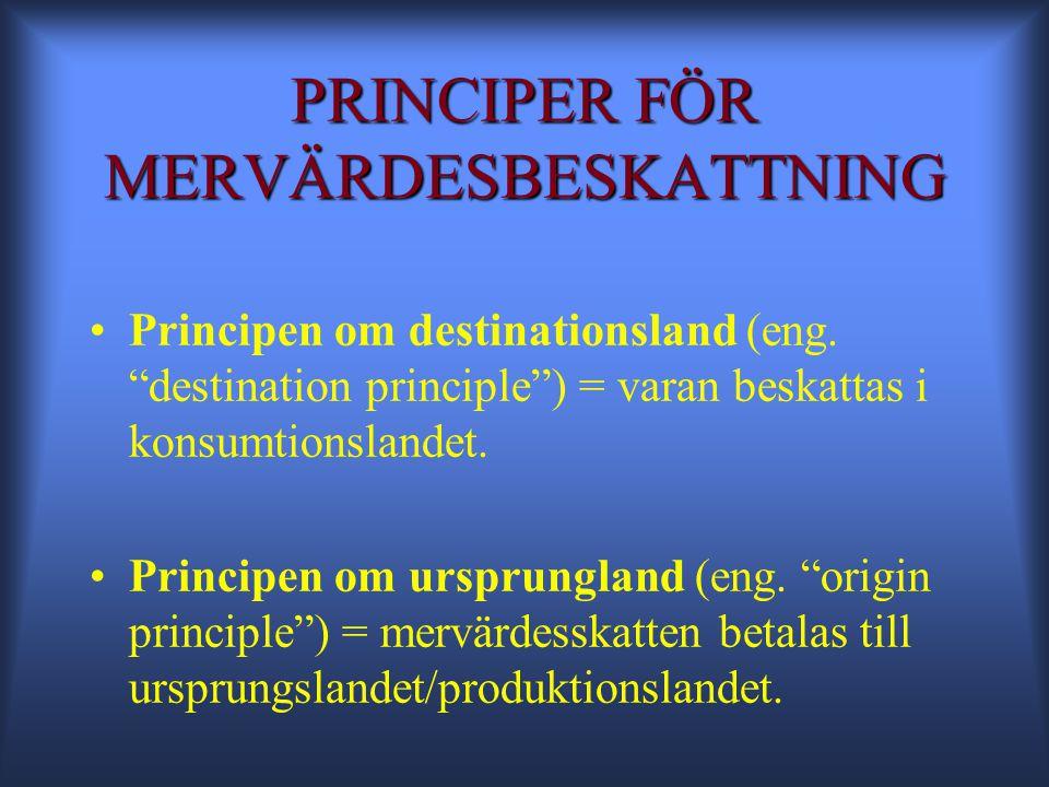 PRINCIPER FÖR MERVÄRDESBESKATTNING •Principen om destinationsland (eng.