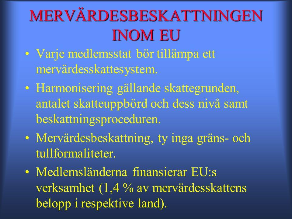 MERVÄRDESBESKATTNINGEN INOM EU •Varje medlemsstat bör tillämpa ett mervärdesskattesystem.