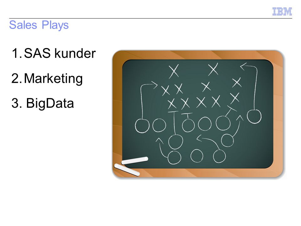 Sales Plays 1.SAS kunder 2.Marketing 3. BigData