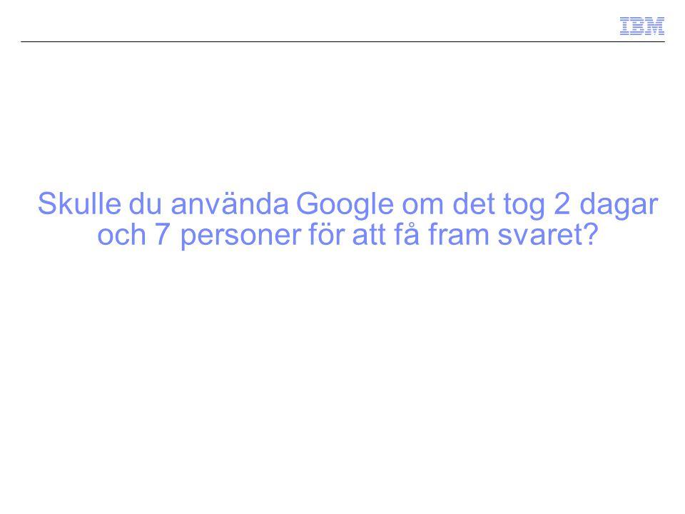 Skulle du använda Google om det tog 2 dagar och 7 personer för att få fram svaret