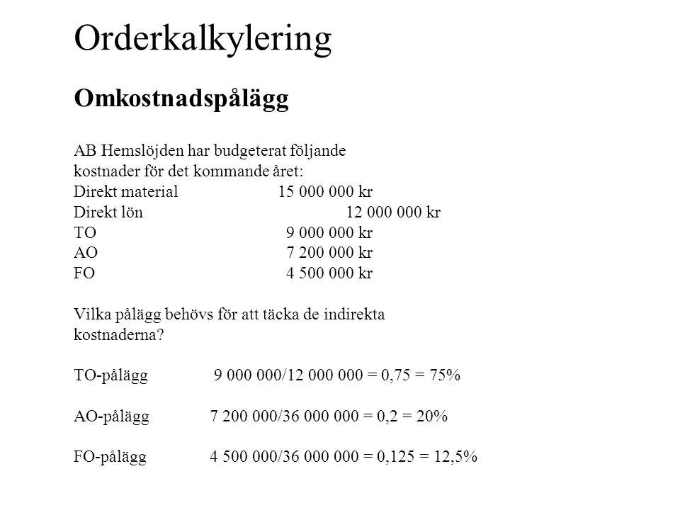 Orderkalkylering Påläggskalkyl Upprätta en självkostnadskalkyl för produkten ljusstake som per styck har följande direkta kostnader: Direkt material50 kr Direkt lön20 kr dM50 MO-pålägg 0 dL20 TO-pålägg15 (75% av dL) TK85 AO-pålägg17 (20% av TK) FO-pålägg10,63 (12,5% av TK) Självkostnad112,63 Självkostnad för en ljusstake är 112,63 kr