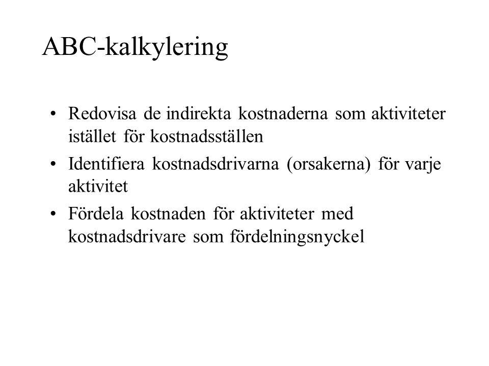 ABC-kalkylering •Redovisa de indirekta kostnaderna som aktiviteter istället för kostnadsställen •Identifiera kostnadsdrivarna (orsakerna) för varje ak