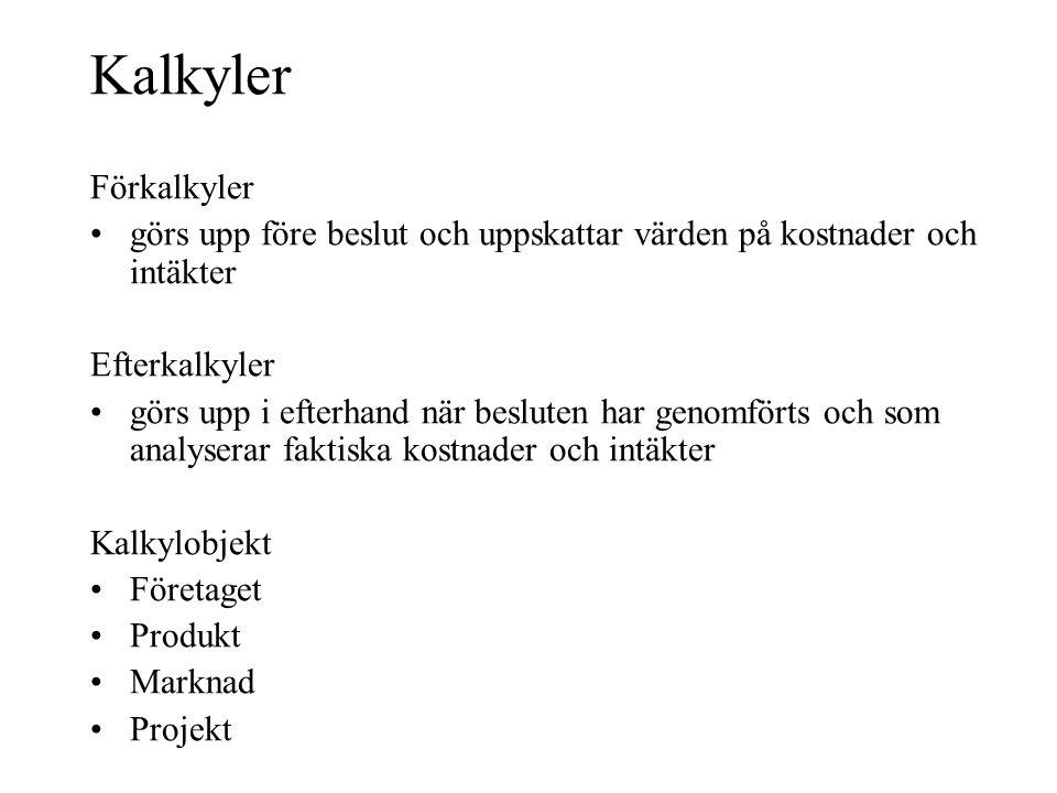 Kalkyler Förkalkyler •görs upp före beslut och uppskattar värden på kostnader och intäkter Efterkalkyler •görs upp i efterhand när besluten har genomf
