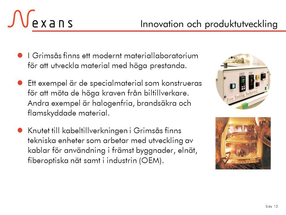 Sida 13 Innovation och produktutveckling  I Grimsås finns ett modernt materiallaboratorium för att utveckla material med höga prestanda.  Ett exempe