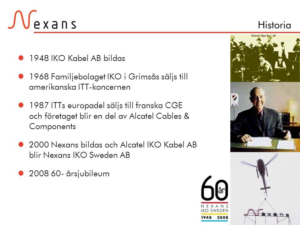 Sida 4 Historia  1948 IKO Kabel AB bildas  1968 Familjebolaget IKO i Grimsås säljs till amerikanska ITT-koncernen  1987 ITTs europadel säljs till f