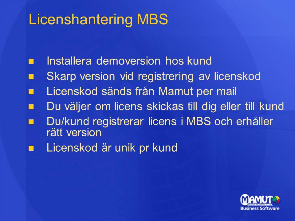   Installera demoversion hos kund   Skarp version vid registrering av licenskod   Licenskod sänds från Mamut per mail   Du väljer om licens skickas till dig eller till kund   Du/kund registrerar licens i MBS och erhåller rätt version   Licenskod är unik pr kund Licenshantering MBS