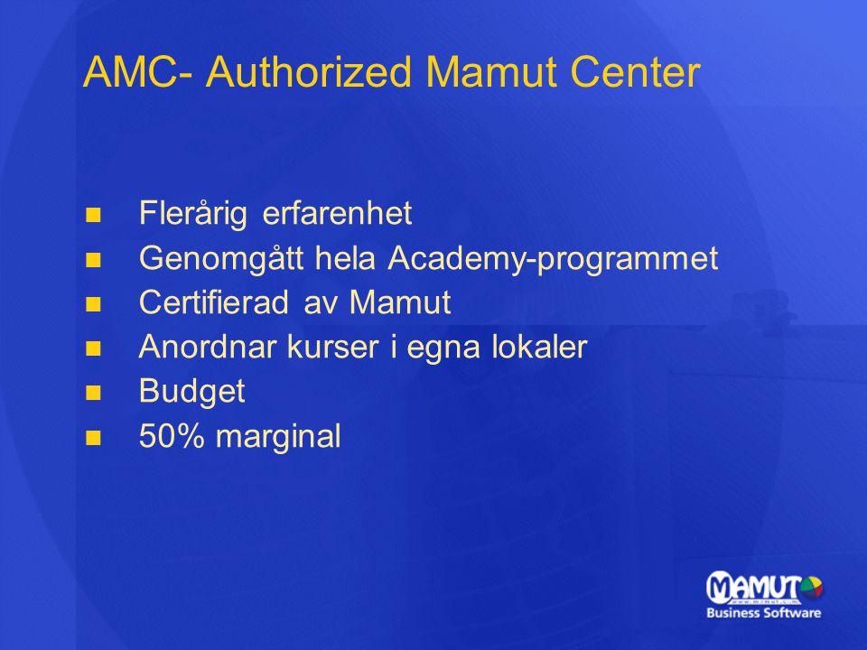 AMC- Authorized Mamut Center   Flerårig erfarenhet   Genomgått hela Academy-programmet   Certifierad av Mamut   Anordnar kurser i egna lokaler   Budget   50% marginal