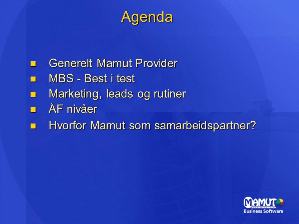 Agenda  Generelt Mamut Provider  MBS - Best i test  Marketing, leads og rutiner  ÅF nivåer  Hvorfor Mamut som samarbeidspartner