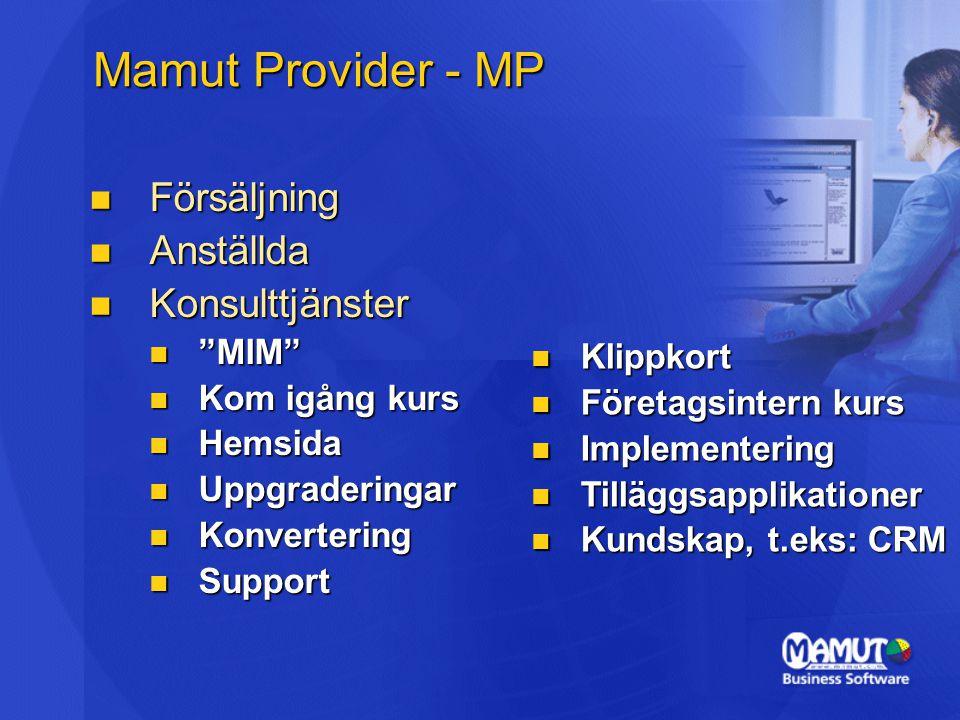 Mamut Provider - MP  Försäljning  Anställda  Konsulttjänster  MIM  Kom igång kurs  Hemsida  Uppgraderingar  Konvertering  Support  Klippkort  Företagsintern kurs  Implementering  Tilläggsapplikationer  Kundskap, t.eks: CRM