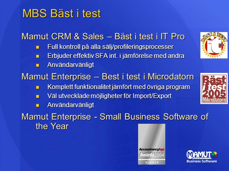 MBS Bäst i test Mamut CRM & Sales – Bäst i test i IT Pro  Full kontroll på alla sälj/profileringsprocesser  Erbjuder effektiv SFA int. i jämförelse