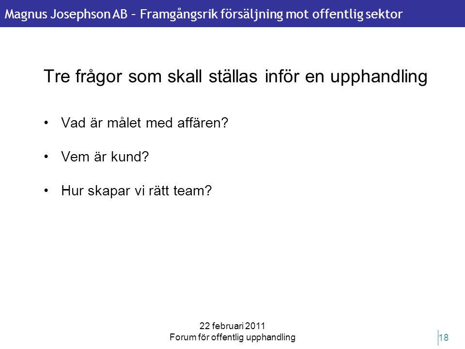 Magnus Josephson AB – Framgångsrik försäljning mot offentlig sektor 22 februari 2011 Forum för offentlig upphandling 18 Tre frågor som skall ställas i