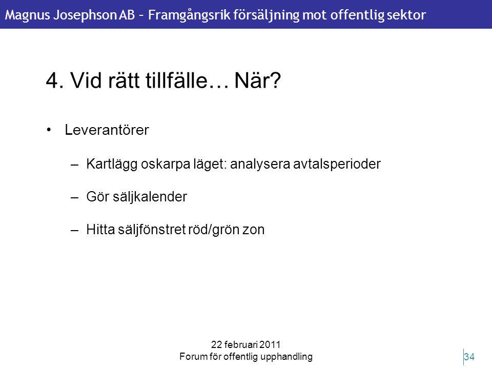Magnus Josephson AB – Framgångsrik försäljning mot offentlig sektor 22 februari 2011 Forum för offentlig upphandling 34 4. Vid rätt tillfälle… När? •L