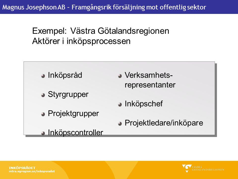 Magnus Josephson AB – Framgångsrik försäljning mot offentlig sektor 22 februari 2011 Forum för offentlig upphandling 6 Exempel: Västra Götalandsregion