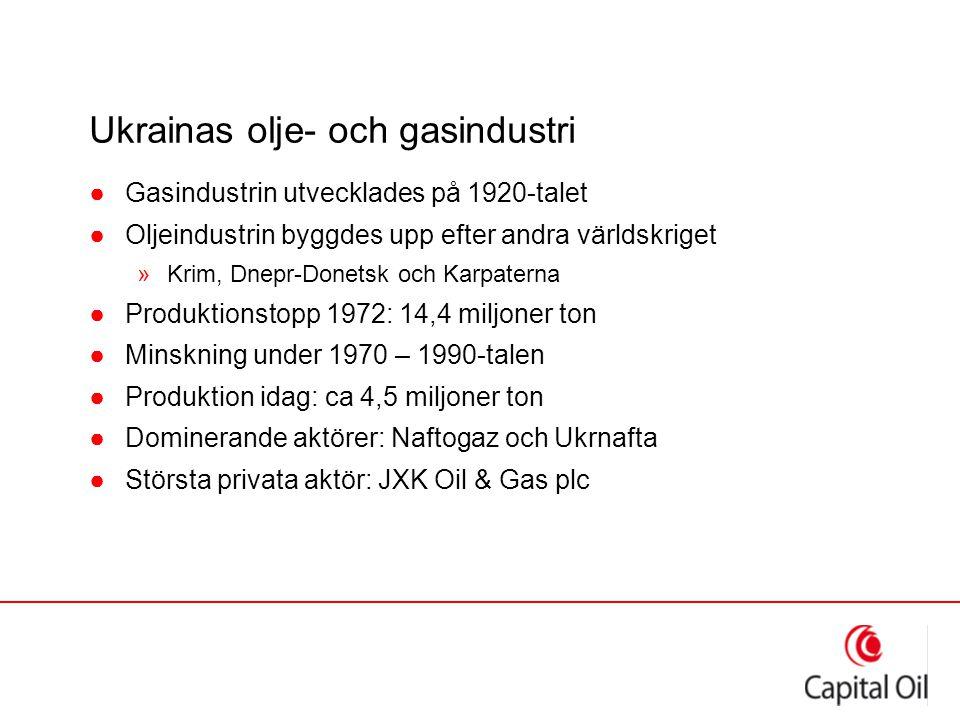 Ukrainas olje- och gasindustri ●Gasindustrin utvecklades på 1920-talet ●Oljeindustrin byggdes upp efter andra världskriget »Krim, Dnepr-Donetsk och Ka
