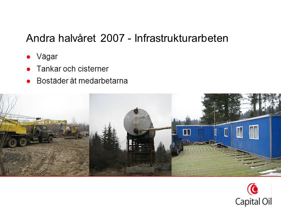 Andra halvåret 2007 - Infrastrukturarbeten ●Vägar ●Tankar och cisterner ●Bostäder åt medarbetarna