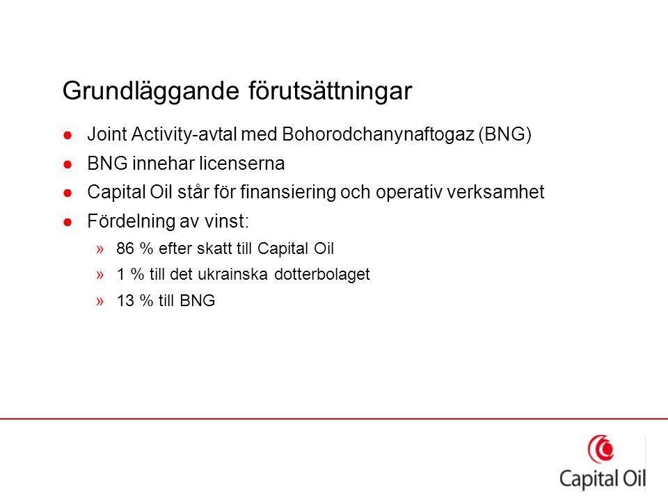 Grundläggande förutsättningar ●Joint Activity-avtal med Bohorodchanynaftogaz (BNG) ●BNG innehar licenserna ●Capital Oil står för finansiering och oper