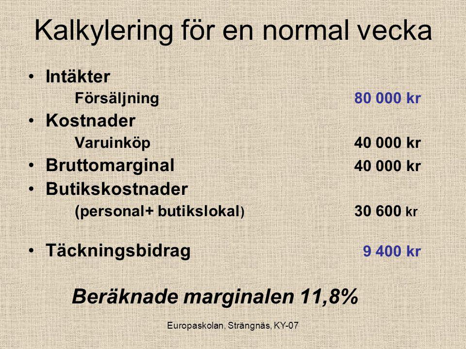 Europaskolan, Strängnäs, KY-07 Kalkylering för en normal vecka •Intäkter Försäljning 80 000 kr •Kostnader Varuinköp 40 000 kr •Bruttomarginal 40 000 k