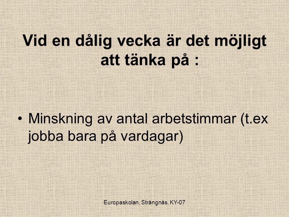 Europaskolan, Strängnäs, KY-07 Vid en dålig vecka är det möjligt att tänka på : •Minskning av antal arbetstimmar (t.ex jobba bara på vardagar)