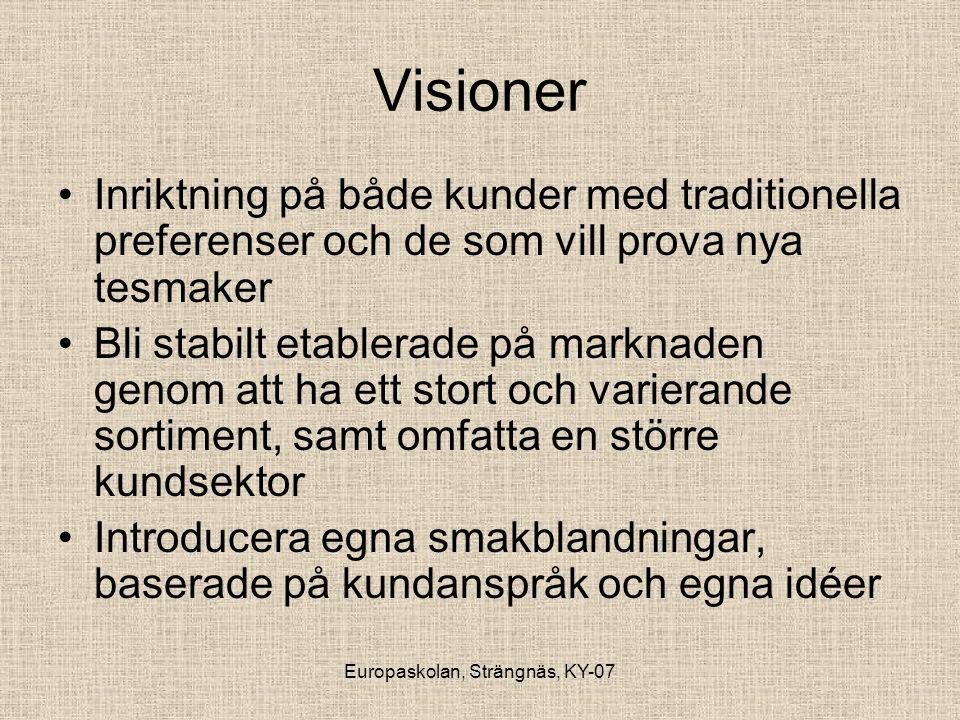 Europaskolan, Strängnäs, KY-07 Visioner •Inriktning på både kunder med traditionella preferenser och de som vill prova nya tesmaker •Bli stabilt etabl