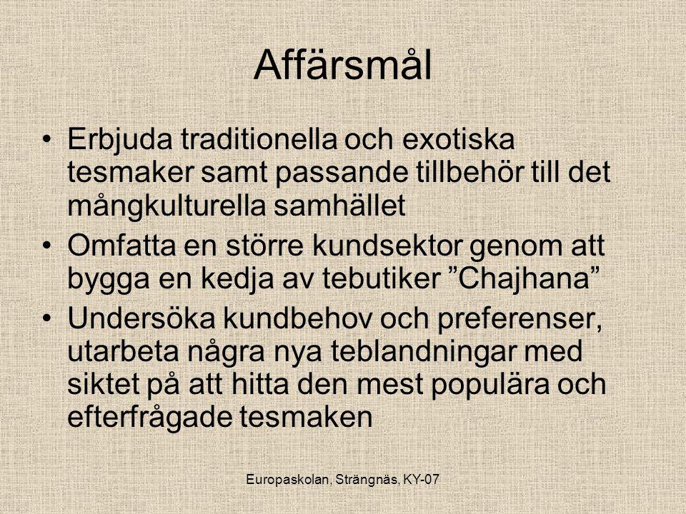 Europaskolan, Strängnäs, KY-07 Affärsmål •Erbjuda traditionella och exotiska tesmaker samt passande tillbehör till det mångkulturella samhället •Omfat