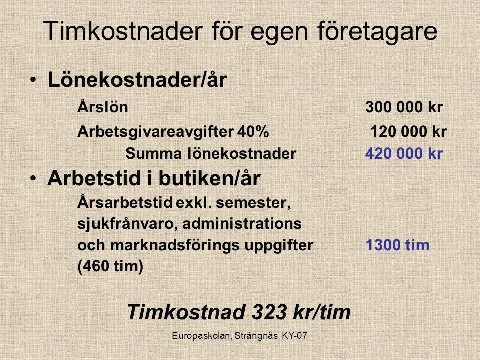 Europaskolan, Strängnäs, KY-07 Timkostnader för egen företagare •Lönekostnader/år Årslön300 000 kr Arbetsgivareavgifter 40% 120 000 kr Summa lönekostn