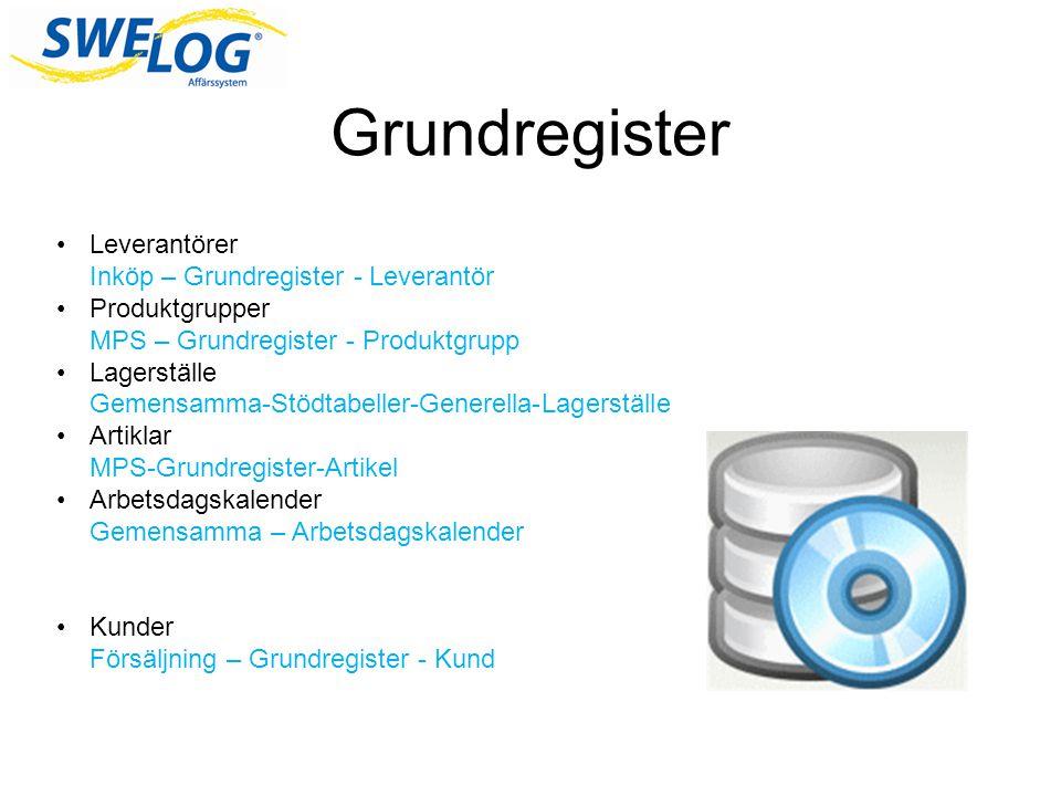 Grundregister •Leverantörer Inköp – Grundregister - Leverantör •Produktgrupper MPS – Grundregister - Produktgrupp •Lagerställe Gemensamma-Stödtabeller