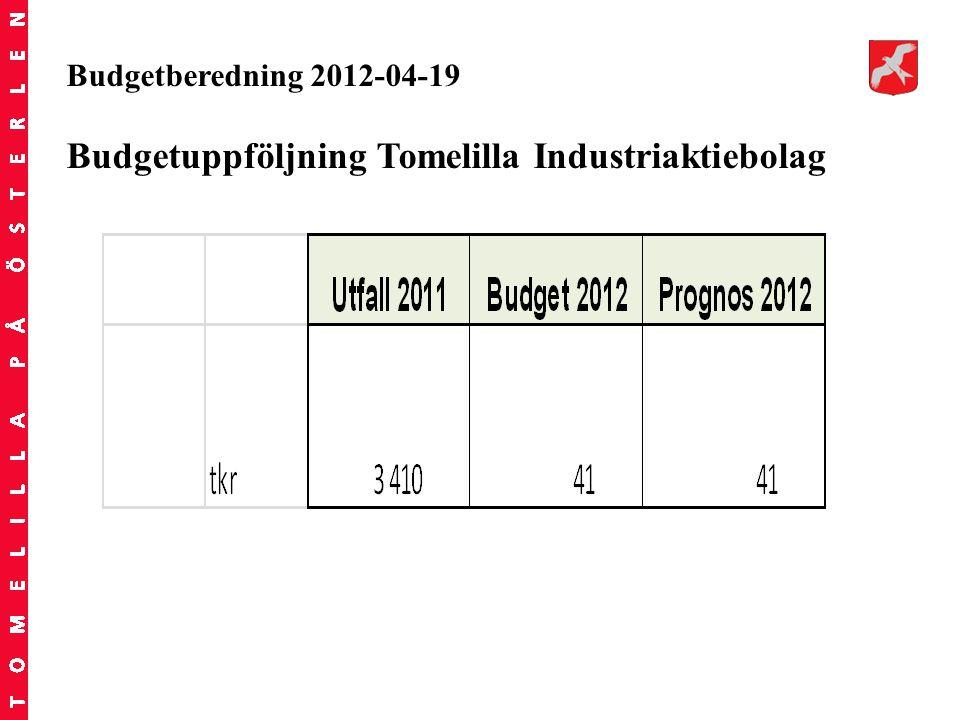 Budgetberedning 2012-04-19 Budgetuppföljning Tomelilla Industriaktiebolag