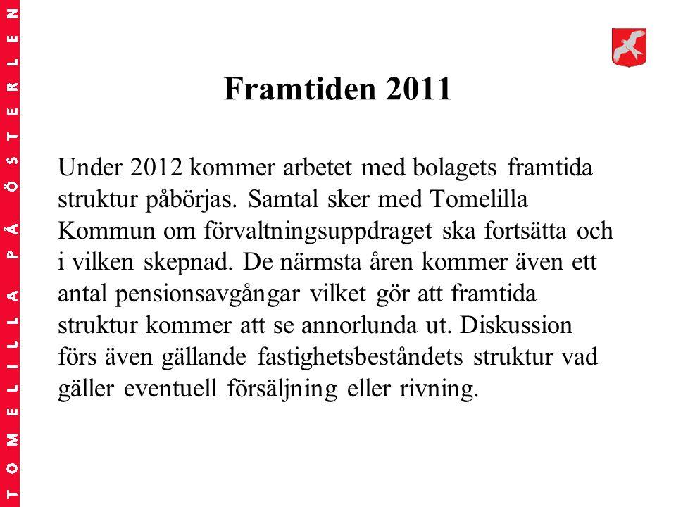 Framtiden 2011 Under 2012 kommer arbetet med bolagets framtida struktur påbörjas. Samtal sker med Tomelilla Kommun om förvaltningsuppdraget ska fortsä
