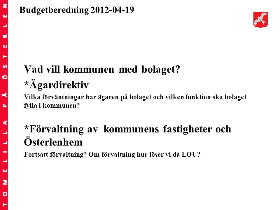 Budgetberedning 2012-04-19 Vad vill kommunen med bolaget? *Ägardirektiv Vilka förväntningar har ägaren på bolaget och vilken funktion ska bolaget fyll