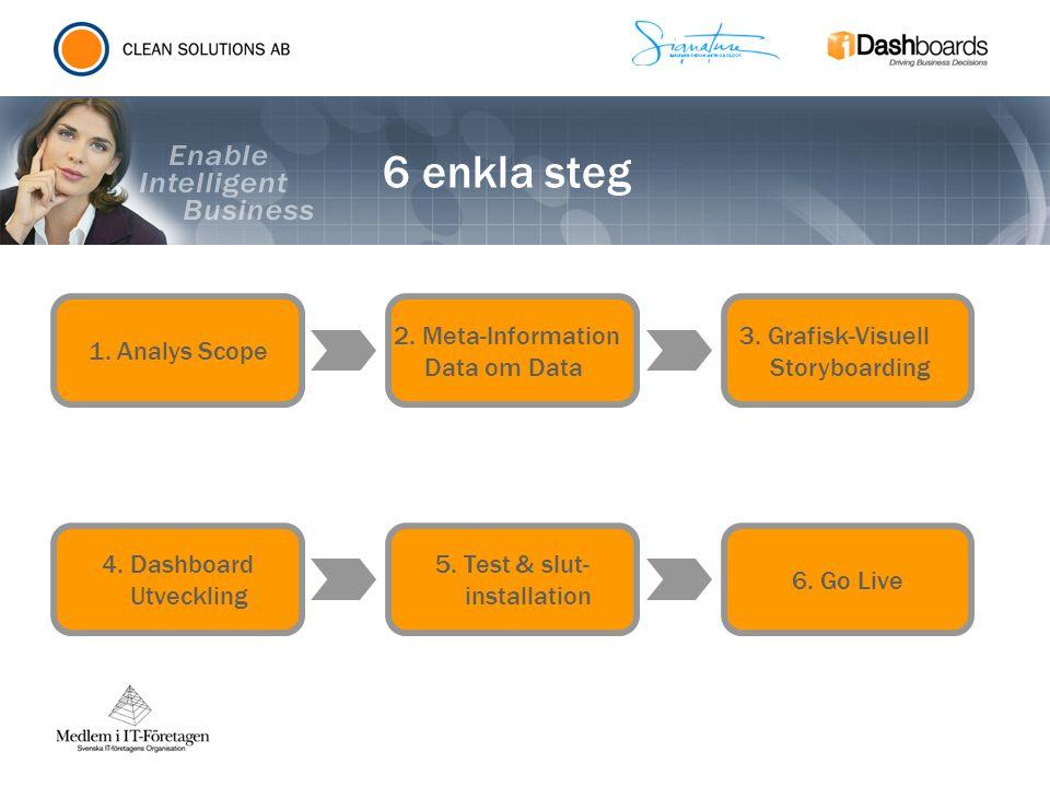 6 enkla steg 1. Analys Scope 2. Meta-Information Data om Data 3. Grafisk-Visuell Storyboarding 4. Dashboard Utveckling 5. Test & slut- installation 6.