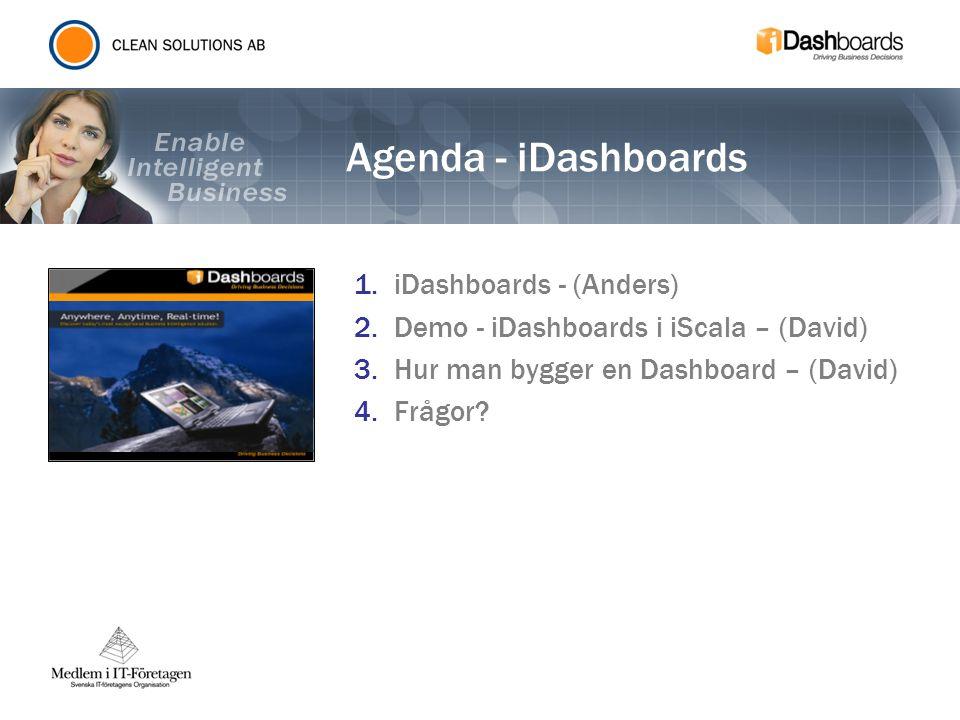 Agenda - iDashboards 1.iDashboards - (Anders) 2.Demo - iDashboards i iScala – (David) 3.Hur man bygger en Dashboard – (David) 4.Frågor?