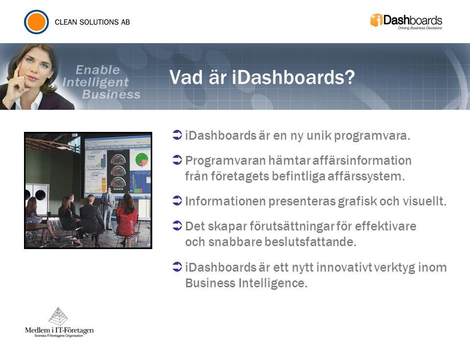 Vad är iDashboards?  iDashboards är en ny unik programvara.  Programvaran hämtar affärsinformation från företagets befintliga affärssystem.  Inform