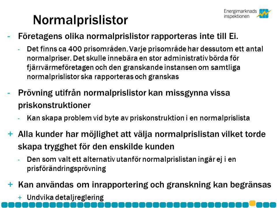 Normalprislistor -Företagens olika normalprislistor rapporteras inte till Ei.