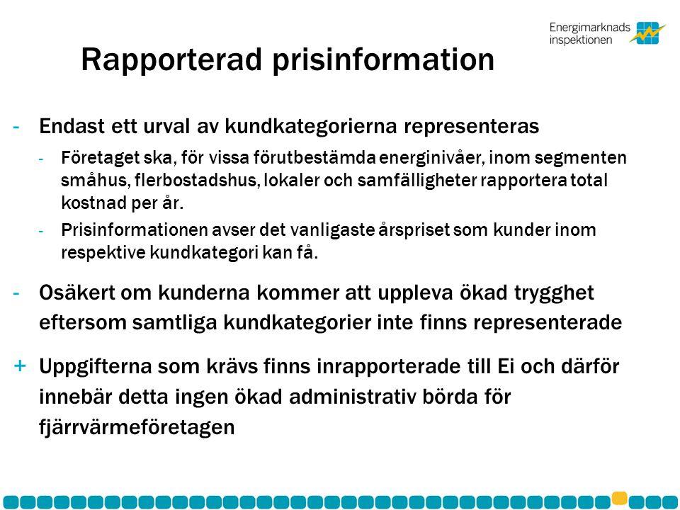 Rapporterad prisinformation -Endast ett urval av kundkategorierna representeras - Företaget ska, för vissa förutbestämda energinivåer, inom segmenten