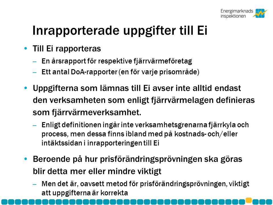 Inrapporterade uppgifter till Ei •Till Ei rapporteras – En årsrapport för respektive fjärrvärmeföretag – Ett antal DoA-rapporter (en för varje prisomr