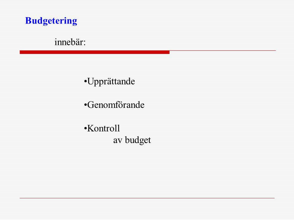 Budgetering innebär: •Upprättande •Genomförande •Kontroll av budget