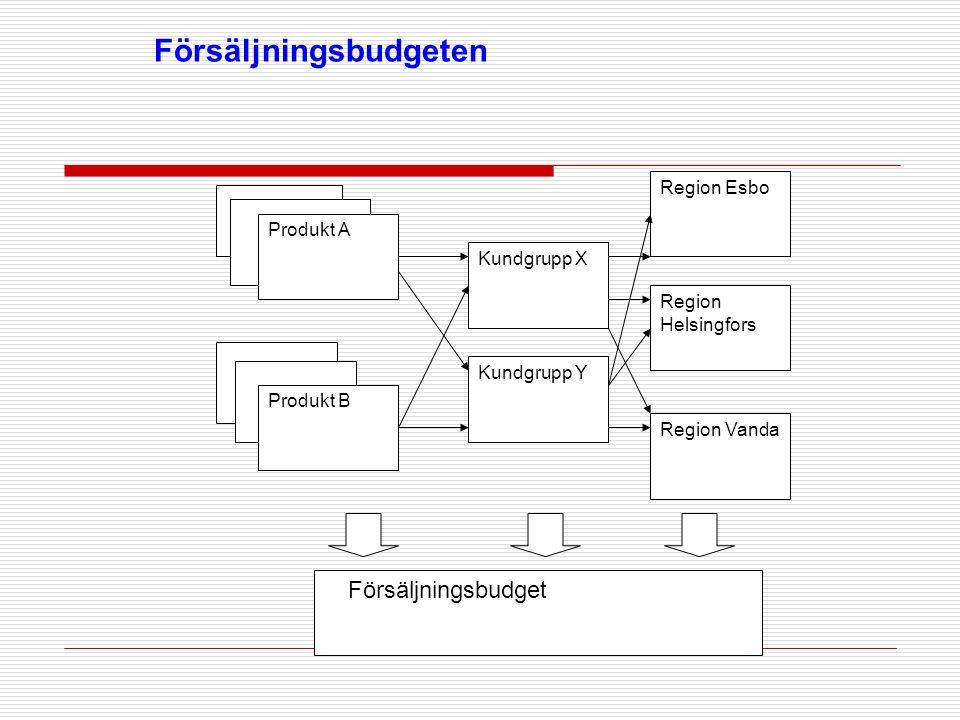 Försäljningsbudgeten Produkt A Produkt B Region Esbo Region Helsingfors Region Vanda Kundgrupp X Kundgrupp Y Försäljningsbudget