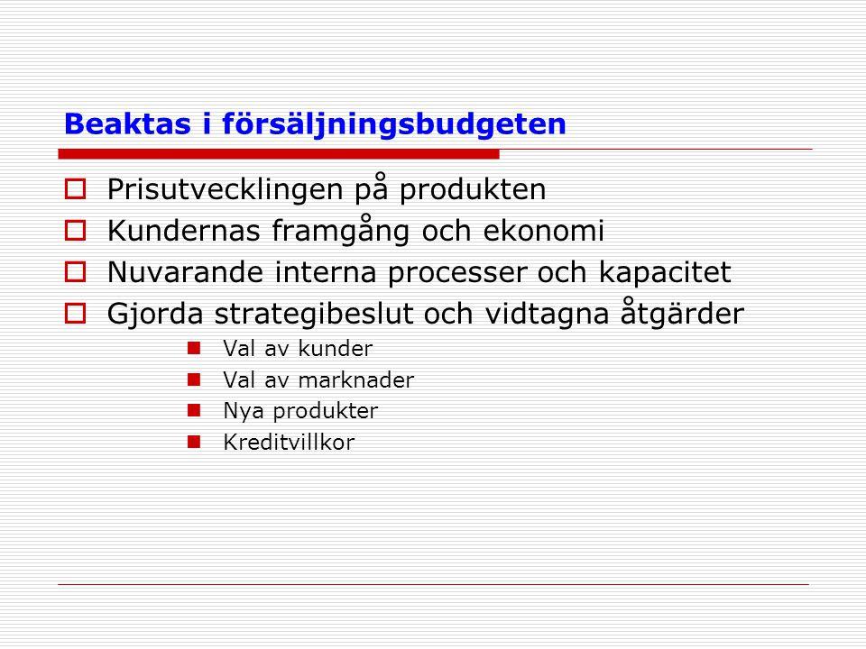 Beaktas i försäljningsbudgeten  Prisutvecklingen på produkten  Kundernas framgång och ekonomi  Nuvarande interna processer och kapacitet  Gjorda s