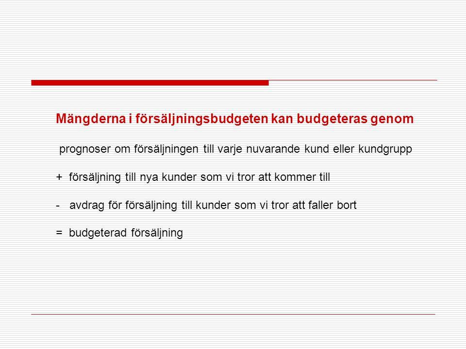 Mängderna i försäljningsbudgeten kan budgeteras genom prognoser om försäljningen till varje nuvarande kund eller kundgrupp + försäljning till nya kund