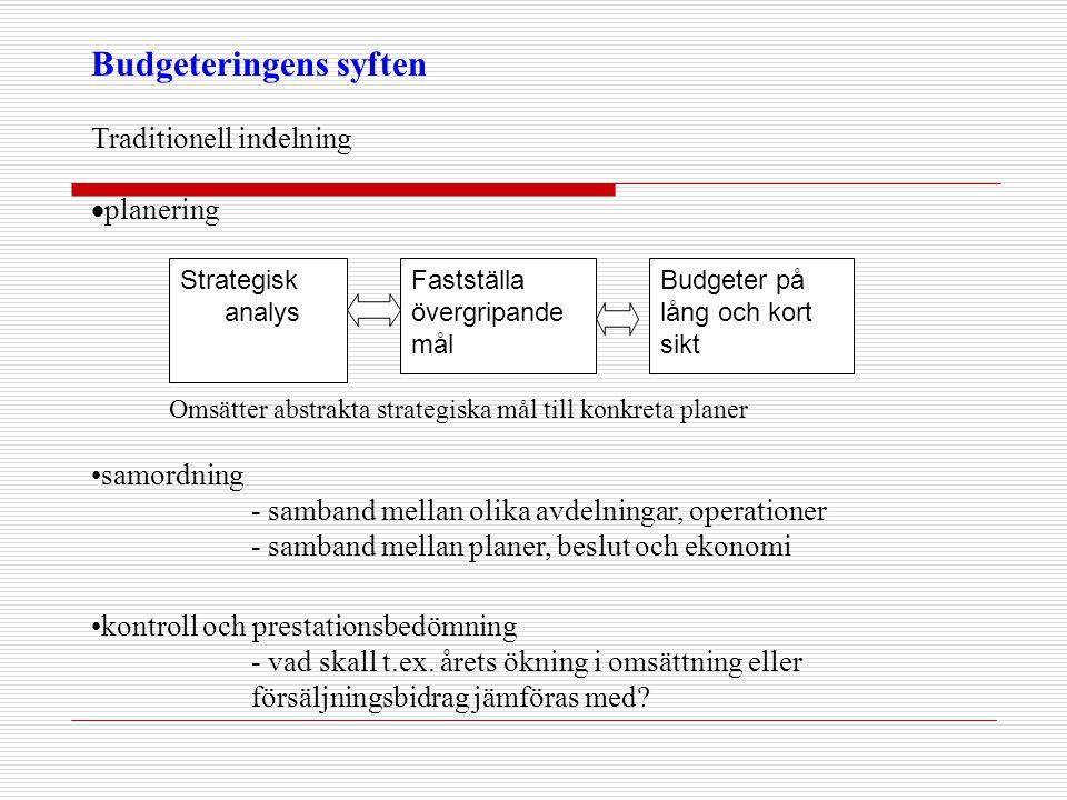 Strategisk analys Fastställa övergripande mål Budgeter på lång och kort sikt Budgeteringens syften Traditionell indelning  planering •samordning - sa