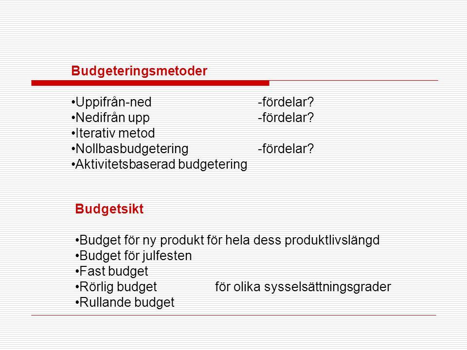 Budgeteringsmetoder •Uppifrån-ned-fördelar? •Nedifrån upp-fördelar? •Iterativ metod •Nollbasbudgetering-fördelar? •Aktivitetsbaserad budgetering Budge