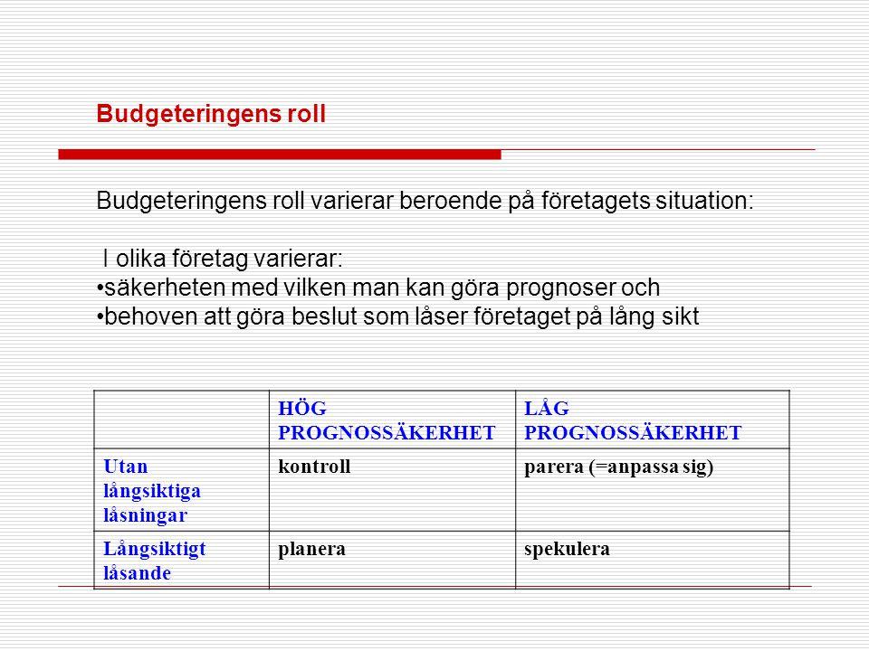 Budgeteringens roll Budgeteringens roll varierar beroende på företagets situation: I olika företag varierar: •säkerheten med vilken man kan göra progn