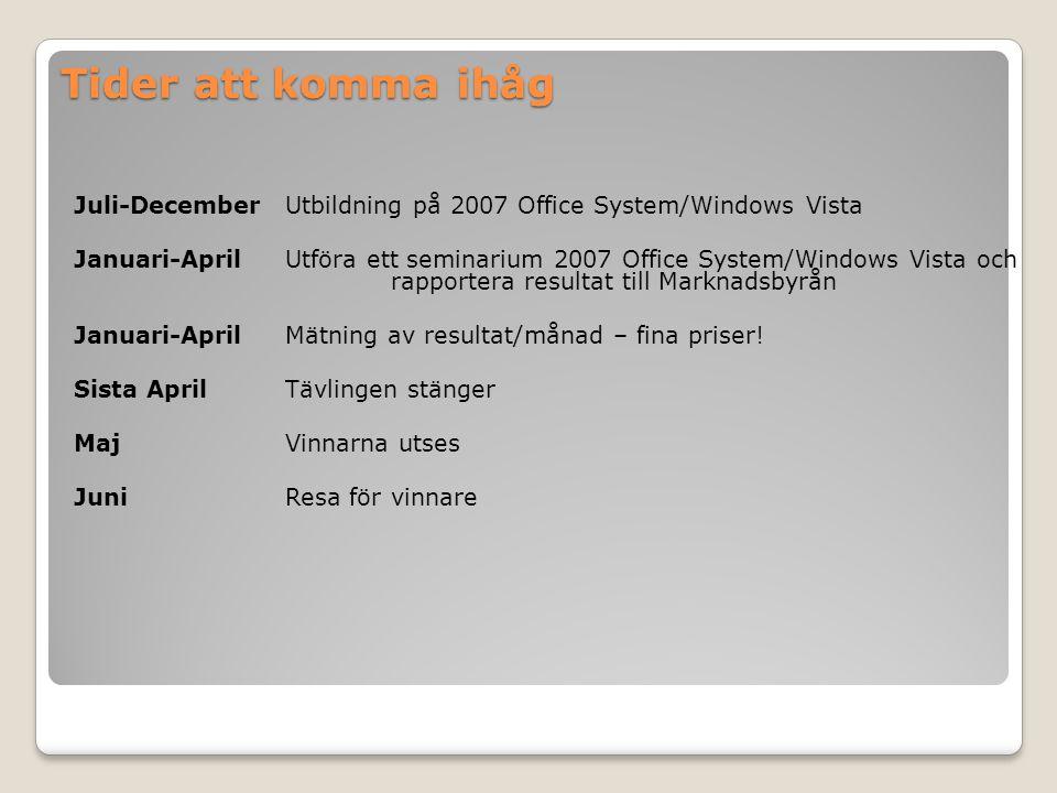 Tider att komma ihåg Juli-DecemberUtbildning på 2007 Office System/Windows Vista Januari-AprilUtföra ett seminarium 2007 Office System/Windows Vista och rapportera resultat till Marknadsbyrån Januari-AprilMätning av resultat/månad – fina priser.