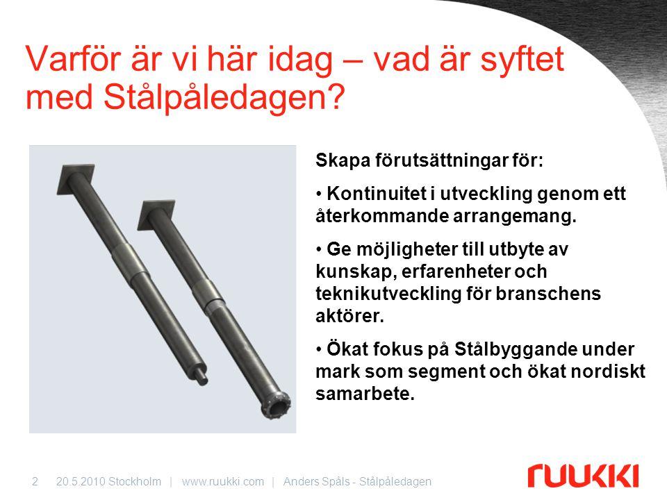 20.5.2010 Stockholm | www.ruukki.com | Anders Spåls - Stålpåledagen3 Ruukkis historia inom stålrörspålar 1987 Pieniläpimittaiset (Liten) RR-påle, Kaukopään (fabrik) 1998 Porattavat pieniläpimittaiset RD- paalut, As Oy Brahenkulma 1997 Suuriläpimittaiset RD- paalut, Tunnelipuiston alikulku 1984 Suuriläpimittaiset stålrörspåle, Oritkarin hamn 2010 RRs- och RDs-pålar